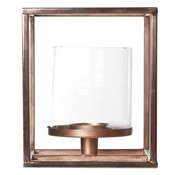 Cosy & Trendy T-licht Houder Vierkant - Glas - Koper M15.5x15.5xh17cm