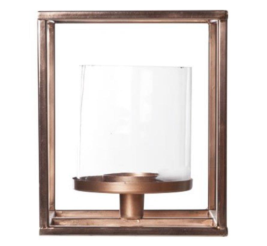 T-licht Houder Vierkant - Glas - Koper M15.5x15.5xh17cm