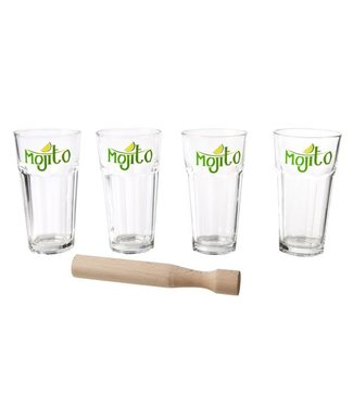 Cosy & Trendy Mojito Set 4 Glass Cup With Muddlerglass Cup D8xh14.6cm
