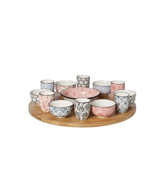 Cosy & Trendy Delirio 14pcs Turning Board Bamboo Withbowls 6x 9x4,8 - 6x 5,6x6,7 - 1x 15x4,8