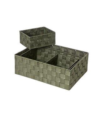 Cosy & Trendy Expert - Basket - Green - 35x25.5x12cm - 32x21xh10cm - 18x14xh8cm - 18x14xh8cm - Nylon - (set of 4).