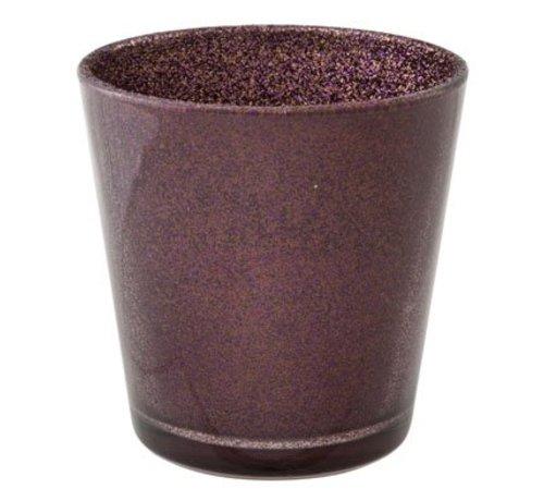 Cosy @ Home Teelichtglas Glitzer Aubergine D7xh7,5cm (6er Set)