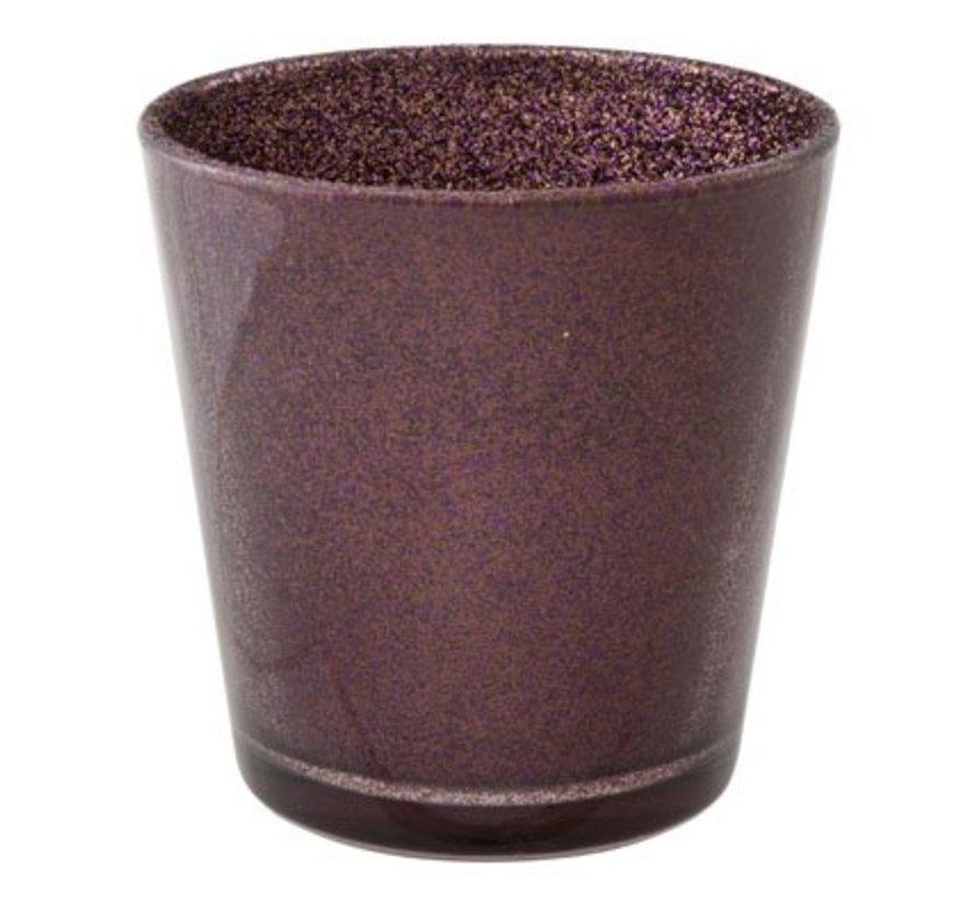 Teelichtglas Glitzer Aubergine D7xh7,5cm (6er Set)