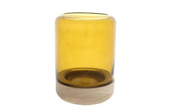 Cosy @ Home Windlicht Glas Op Houtvoet Oker D15xh20c