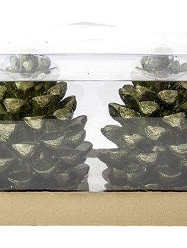 Cosy @ Home Kaars Kerstboom Groen Set2 D6x8.5cmin Pvc Doos