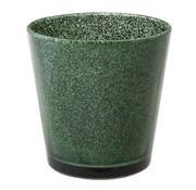 Cosy @ Home Theelichtglas Glitter Donkgroen 7xh7,5cm (set van 6)