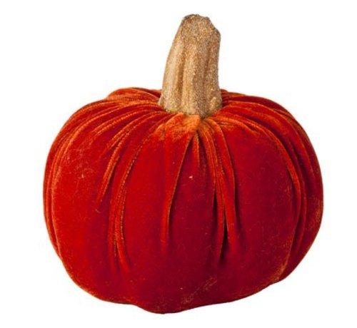 Cosy @ Home Pompoen Velours Oranje 16x16x17cm (set van 2)