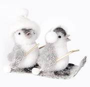 Cosy @ Home Pinguins Op Ski Flocked Grijs 15x11x13cm (set van 8)