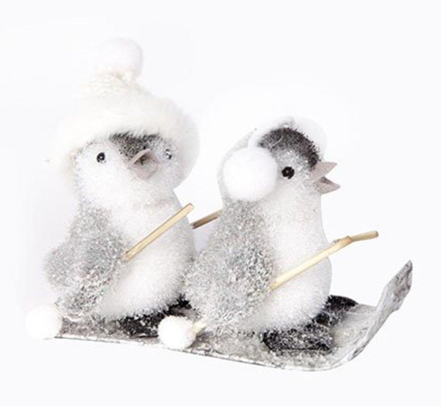 Pinguins Op Ski Flocked Grijs 15x11x13cm (set van 8)