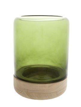 Cosy @ Home Windlicht Glas Op Houtvoet Groend15xh20c