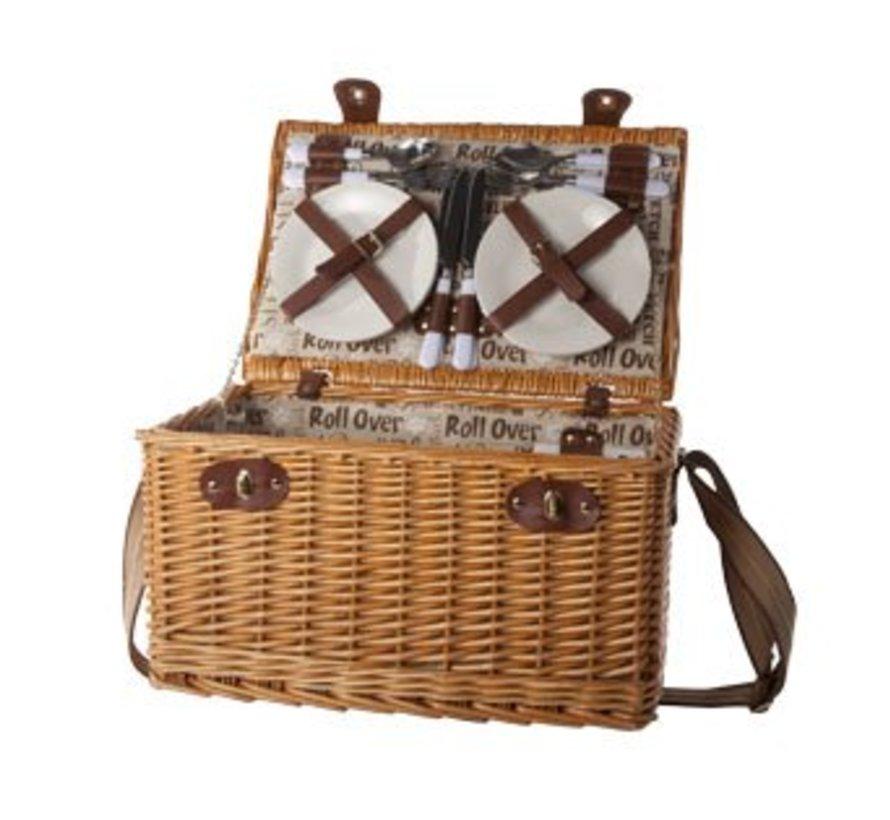 Picknickmand 4p-bestek-borden-glazen-flesopener-p.z 45x31x24cm