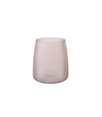 Cosy @ Home Windlicht Cairo Roze Glas D13xh15cm
