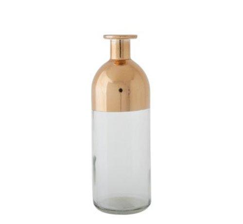 Cosy @ Home Vaas Fles Transp Glas Koper 7x7x20cm