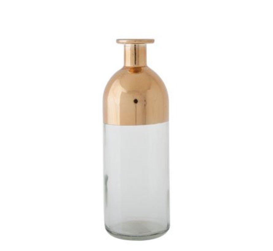 Vaas Fles Transp Glas Koper 7x7x20cm
