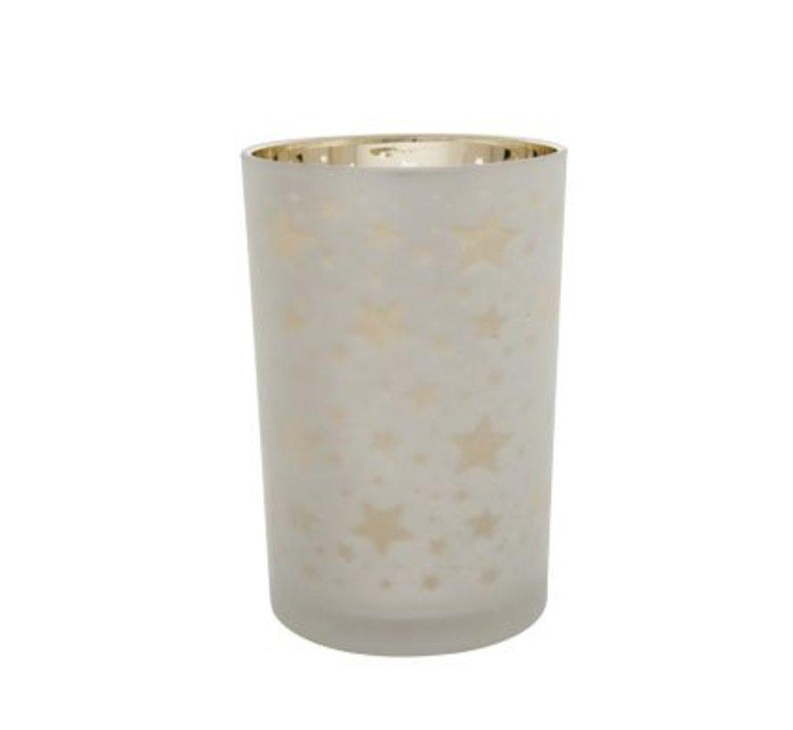 T-licht.potje Ster Zilver D12cmxh18cmglas Gouden Binnenwand