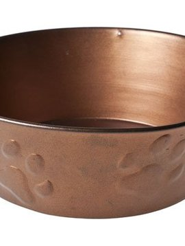 Cosy & Trendy Dogbowl Copper W Paw Embossing 23xh8cm