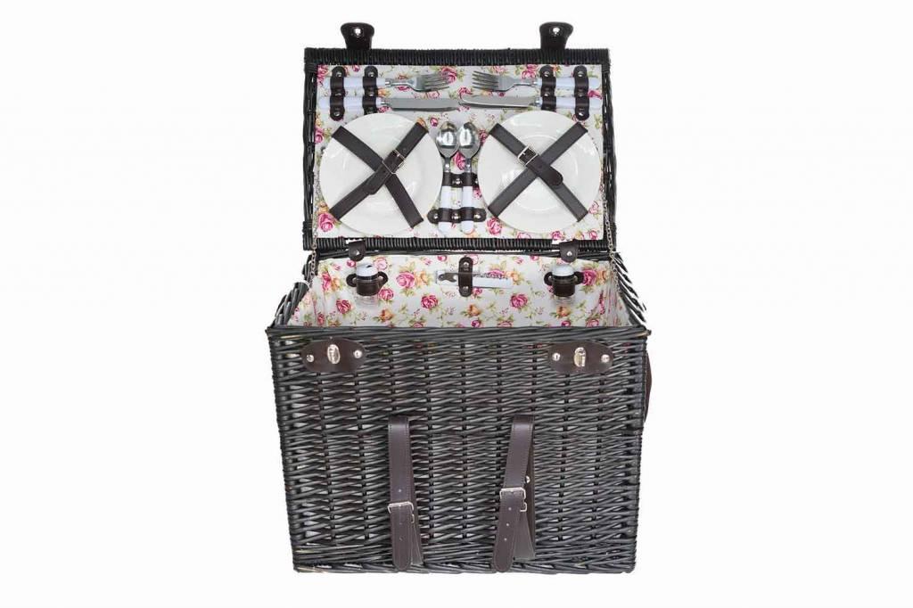 Cosy & Trendy Picknickmand 4p-4xbestek-wijnglazen-borden-zoutvat-flesopener-deken46x31x36
