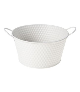 Cosy @ Home Planter Greige Round Metal 19,5x15xh10,3