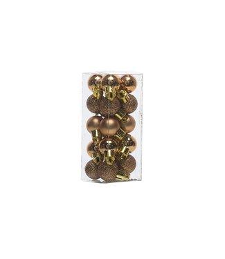 Cosy @ Home Bal Onbreekbaar Set20 Koper D2cmmix Blinkend - Glitter - Mat In Pvc Box