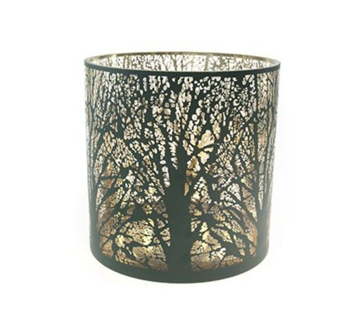 Cosy @ Home Windlicht Groen Rond Glas 20x20xh20 Branches