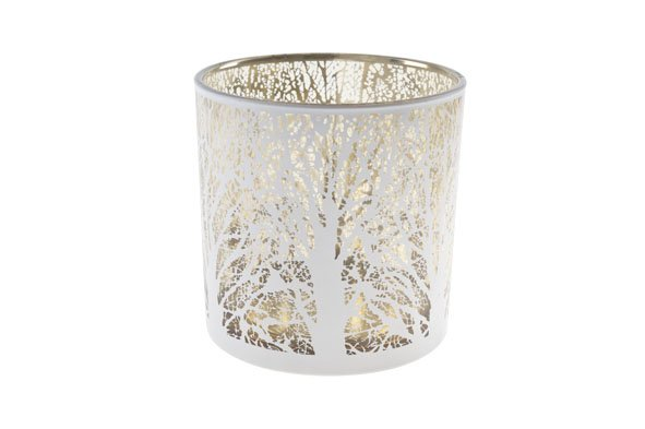 Cosy @ Home Windlicht Wit Rond Glas 15x15xh15branches