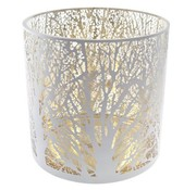 Cosy @ Home Windlicht Wit Rond Glas 25x25xh25branches