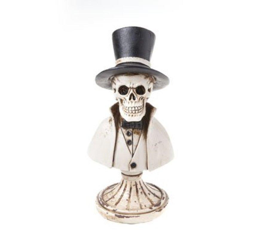 Doodskop Op Voet Zwart Polyresin 8x8xh18,3 Pipe Hat Cape