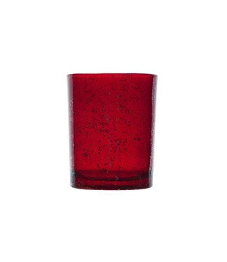 Cosy @ Home Theelichthouder Rood Rond Glas10xh12,5 Glitter