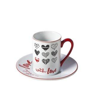 """Cosy & Trendy """"With-Love"""" Koffiekopje 19 cl + Onderbord D14 cm - Porselein - (Set van 4)"""