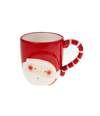 Xmas Mug  Red-white Pottery 12,5x9xh9