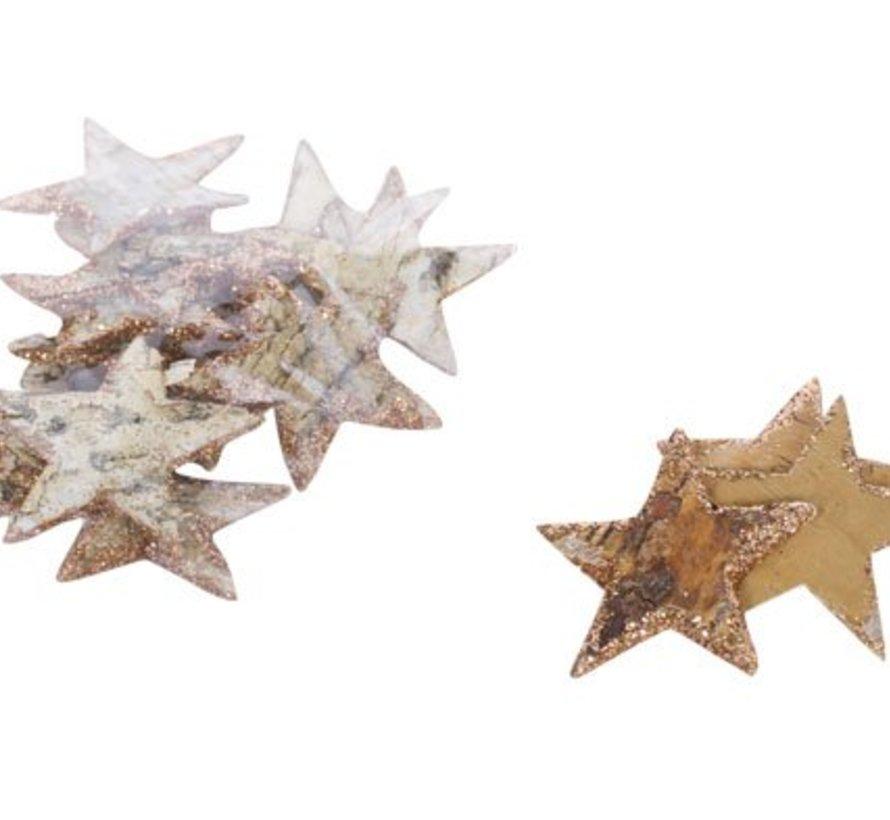 Sterne Kupfer Holz 11x8xh2 Glitter
