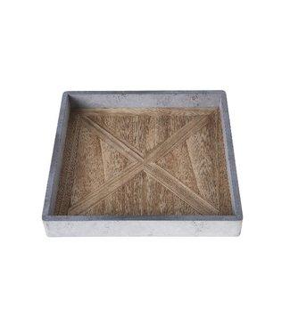 Cosy @ Home Tablett Grau Rechteck Holz 24x24xh3,3
