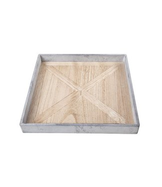 Cosy @ Home Tablett Grau Quadratisch Holz 36x36xh4