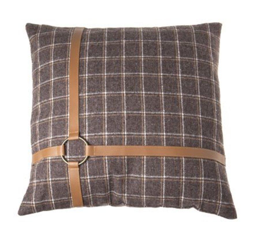 Kussen  Bruin Vierkant Textiel 45x45xh0checked