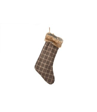 Cosy @ Home Kerstsokken  Bruin Textiel 45x25xh0 Checked With Hangtag