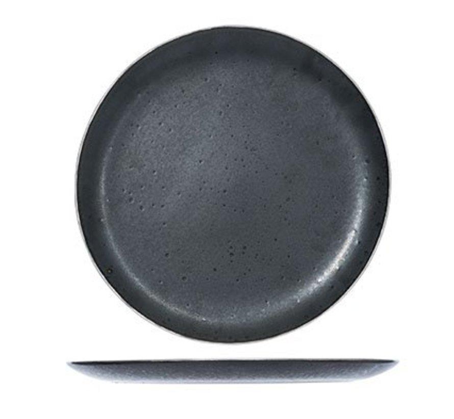 Set of 6 Casino Flat Dinner Plates Black 29.5cm
