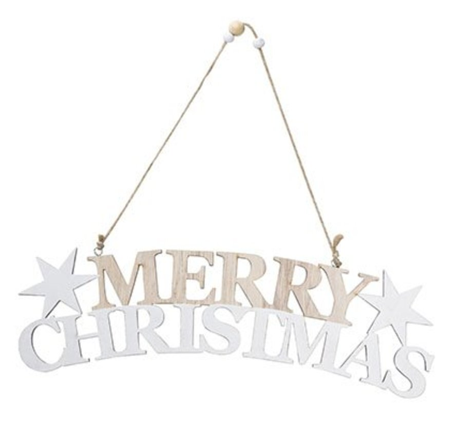 Merry Christmas Hanger Hout 30x8xh1cm