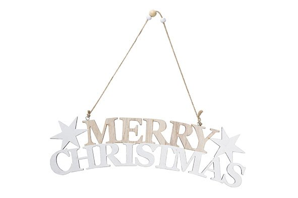 Cosy @ Home Merry Christmas Hanger Hout 30x8xh1cm