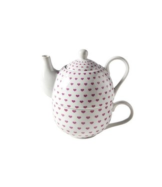 Cosy & Trendy Teapot With Cup D10.5xh15.5 Pink Heartsteapot 41cl - Tasse 34cl