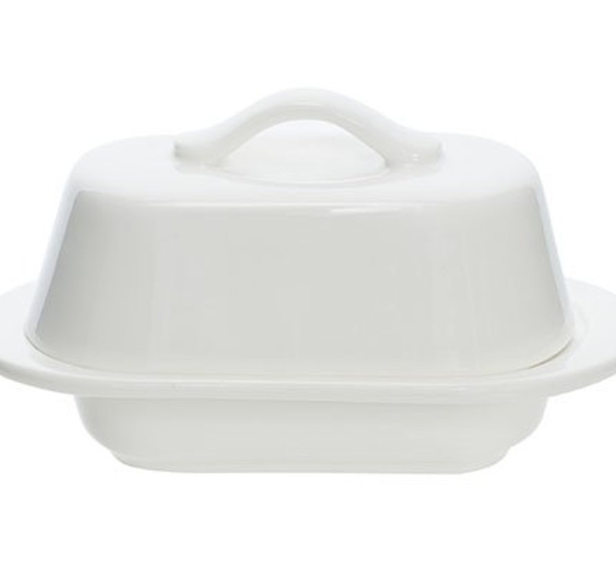 Butter Dish White Oval 12.7x7.5xh7cm