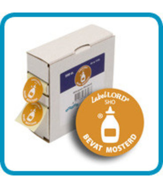 Labellord Allergenes Mustard 25mm Set500 Labelsincl Box 8.6x3.3x8.9cm