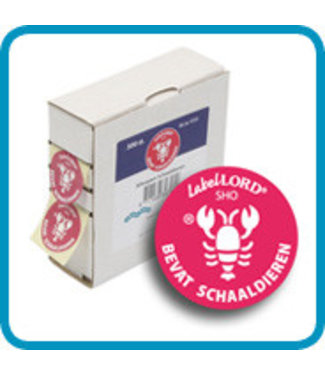 Labellord Allergenen Schaaldieren 25mm Rol S500labels - Incl Doosje - 8.6x3.3x8.9cm