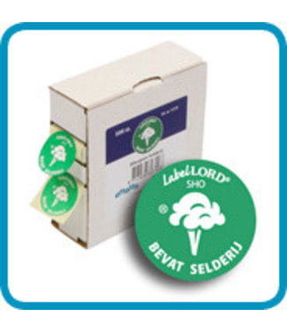 Labellord Allergenes Celery 25mm Set 500 Labelsincl Box 8.6x3.3x8.9cm