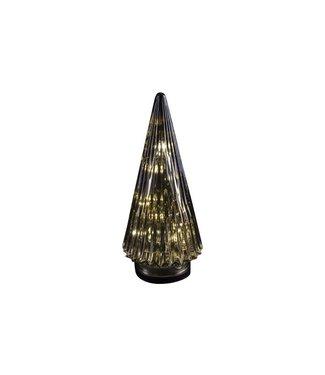 Cosy @ Home Kerstboom Kegel Glas Grijs 12x12x28cmled Excl 3xaaa Batt.