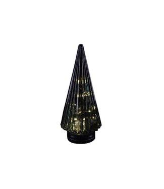 Cosy @ Home Kerstboom Kegel Glas Petrol 12x12x28cmled Excl 3xaaa Batt.