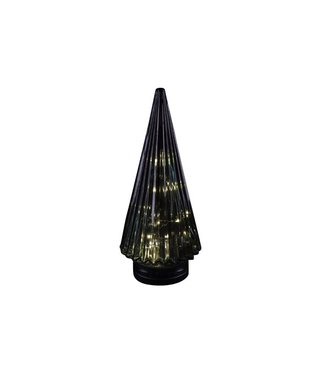 Cosy @ Home Xmas Tree Cone Glass Petrol 12x12x28cmled Excl 3xaaa Batt.