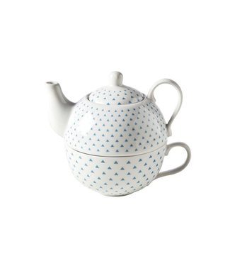 Cosy & Trendy Teapot With Bag D10xh12cm Blue Triangle - teapot: 25cl - cup: 20cl