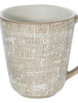CT Tattersall Mug Beige D 9.5cm H 10cm set of 6