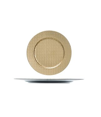 Cosy @ Home Teller Gold Rund Kunststoff 33x33xh2 Knitting