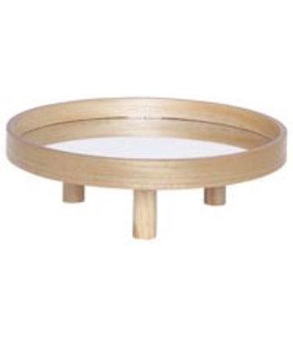 Cosy @ Home Brett Mit Gestell Mirror Natural 35x35xh12cm Rund Holz
